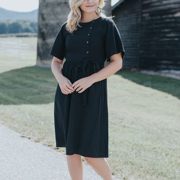 Monique Button Midi Dress, Black