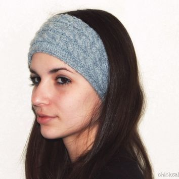 Unisex headband. Head warmer. Wool alpaca blend. Light gray. Knit earwarmer. Snowboarding Skiing. Women hair accessory.  Boho headband
