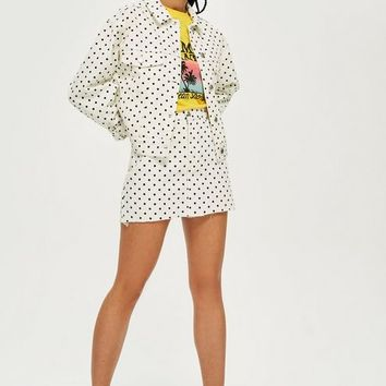 Polka Dot Cropped Denim Jacket | Topshop