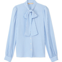 Michael Kors Blue & White Stripe Blouse - Silk Blouse - ShopBAZAAR