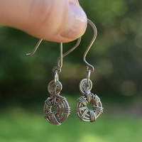 Earring, Fashion Jewelry, Artisan Jewelry, Silver Plated Wire, Silver Spiral Earrings, Copper Wire Wrapped Earrings, Spiral Jewelry
