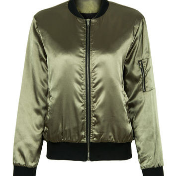 Army Green Zip Sleeve Quilted Lining Bomber Jacket