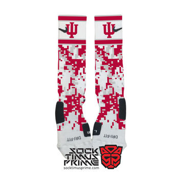 Custom Nike Elite Socks - Indiana Hoosiers Custom Nike Elites - Indiana Basketball, Custom Elites, Nike Socks, Indiana Socks