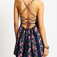 Navy Criss Cross Back Backless Floral Dress