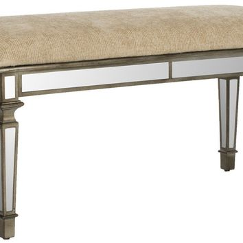 Layla Upholstered Mirror Bench Beige