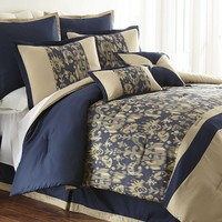 Amanda 8-pc. Jacquard Comforter Set - Queen (Blue)