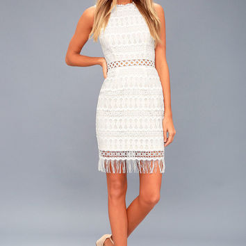 Kenna White Crochet Lace Sleeveless Bodycon Dress