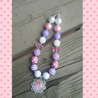Sofia the First Disney On Ice Necklace - Sofia The First Birthday - Pink Purple Bead Necklace - Disney Princess - First Birthday Girl
