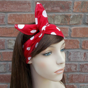Pin Up Girl Headband Red and White Polka Dots Dolly Bow Headband w Wire Pin Up Girl Accessories Fun Headbands for Teens Women Forever Andrea