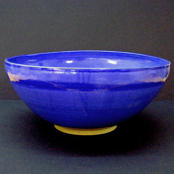 Giant bowl, ceramic bowl, extra large bowl, handmade bowl, blue serving bowl, high fired