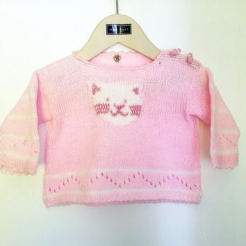 Baby Girl // Pink Sweater //  Cute Kitten // Newborn // Animal Lover // Jumper