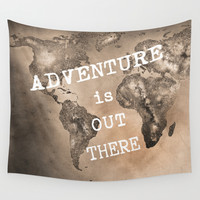 Adventure is out there. Stars world map. Sepia Wall Tapestry by Guido Montañés
