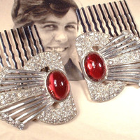 PAIR 1920s Original Art Deco Ruby Red & Pave Clear  Rhinestone Bridal Hair Combs, Heirloom Fur Clips to OOAK Haircombs Great Gatsby Wedding