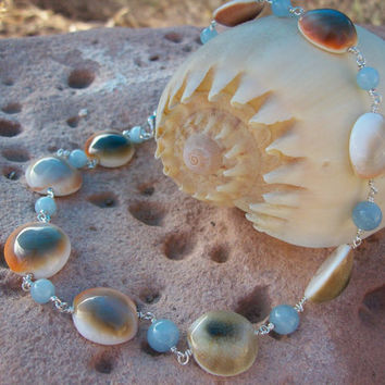 Eye of Shiva & Polished Aquamarine Gemstones on Hand-Looped Silver Plated Wire Choker Necklace - OOAK Gift Beach Nautical Jewelry