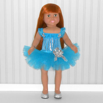 Turquoise and Silver Dance Outfit for 18 inch Girl Doll with Zebra Stripe Leotard and Tutu American Doll Clothes