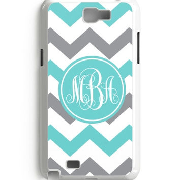 Aqua GrayWhite Chevron Monogram Galaxy Note 2 3 4 Case Custom Cover