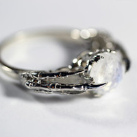 Belonging to The Underworld ring. Moonstone & Sterling Silver. (High Polish Finish)