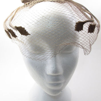 Beige/Tan Veil Birdcage Net Wedding Hat - 1940s Vintage Bridal Wedding -Ribbon Bow Leaf motif - Dress Up Costume Groot
