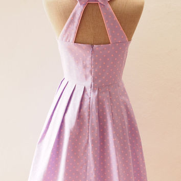 Ready to Ship - LOVE POTION -Lavender with Pink Polka Dot Dress, Cute Summer Dress, Retro Rockabilly Mod Dress, Purple Party Dress, S,M,L,XL