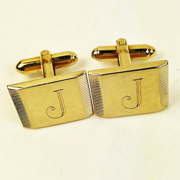 Cufflinks-Engraved with Initial J-Gold Tone-Polished Finish-Vintage-Rectangle-Midcentury Engraved Cufflinks