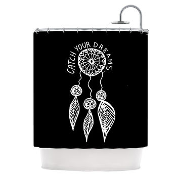 "Vasare Nar ""Catch Your Dreams Black"" White Typography Shower Curtain"