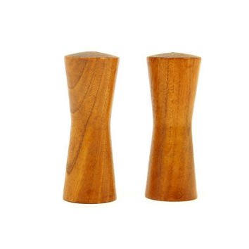 Teak Mid Century Modern Salt and Pepper Shakers