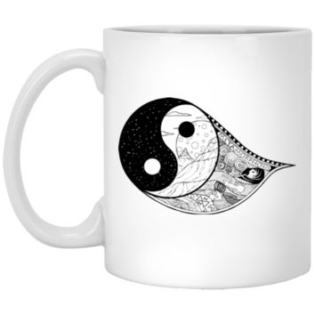 Gothic Yin-Yang, Sky, Mountains And Parchment 11 oz. White Mug