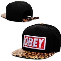 Obey Snapback(black with Leopard)