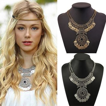 Women Bohemian Festival Jewelry Double Chain Coin Statement Necklace Classics