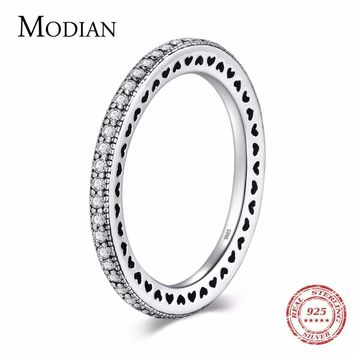 Modian Authentic 925 Sterling Silver Hearts Ring Clear CZ Fashion Stackable Vintage Classic Wedding For Women Engagement Gift