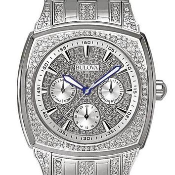 Crystal Mens Dress Watch by Bulova - Cushion Style Case - Day/Date Subdials