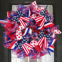 "26"" Patriotic Wreath, Summer Wreath, Fourth of July, Veterans Day, Ready to Ship"