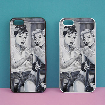 iphone 5S case,Hepburn,Marylin Monroe,Tattoo,iphone 5C case,iphone 5 case,ipod 4 case,ipod 5 case,ipod case,Blackberry Z10 case,Q10 case