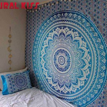 Natural kiss Tapestry Indian Mandala Tapestry Hippie Decoration Wall Hanging Tapestries Boho Bedspread Blanket Bed Table Cloth