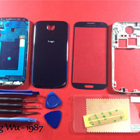 Free Shipping Blue Replacement Full Housing Cover Case + Screen Glass Lens + Tools Film For Samsung Galaxy S4 i9500