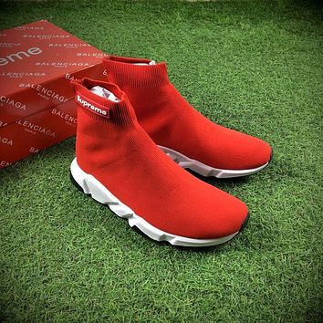 Balenciaga x Supreme Custom Speed Trainer High Top Sock Sneakers Red White Casual Shoes