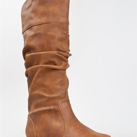 NEW QUPID Women Basic Slouch Knee High Flat Boot Shoe brown tan sz Cognac neo144