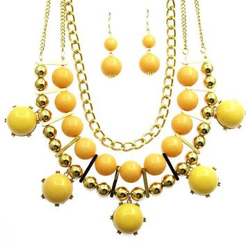 Lucite Stone Chunky Link  Bead Layered Bubble Style Necklace Earring Set