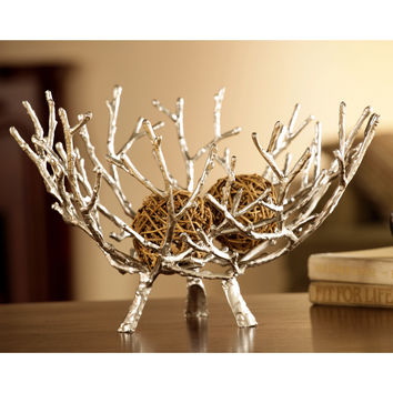 SPI HOME Cast Iron Twig Bowl Decorative Piece in Silver