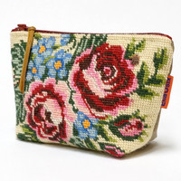 Vintage Needlepoint Cosmetic Bag - French Tapestry zippered pouch - Handmade with Love