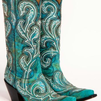 Corral Boots Turquoise Shaded & Studs Boot~ Turquoise