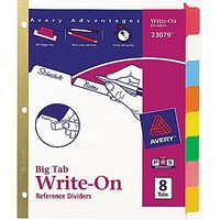 Avery® Write-On™ BIG TAB Dividers, 8-Tab Set, Color Tabs | Staples®