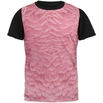 DCCKJY1 Halloween Pink Flamingo Costume All Over Mens Black Back T Shirt