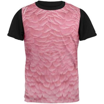 LMFCY8 Halloween Pink Flamingo Costume All Over Mens Black Back T Shirt