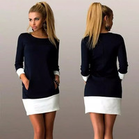 Block Patchwork Pocket Long Sleeve Mini Dress