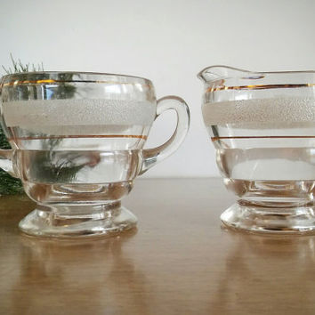 Bartlett Collins Glass Gold Band Creamer Set Frosted Stripe, Vintage Collins Creamer and Sugar Footed Cups