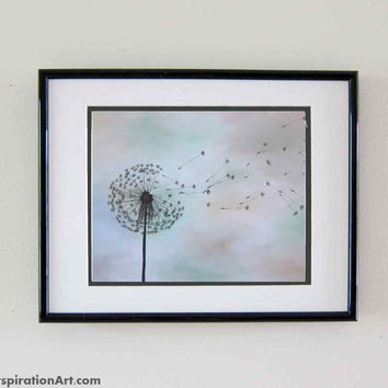 Dandelion Art Print Nature Paintings - Flower Wall Art Neutral Wall Art - Dandelion Painting Gender Neutral Nursery Decor - Office Decor