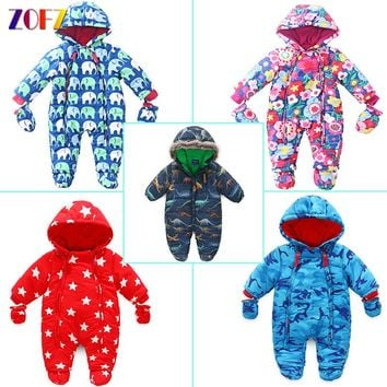 ZOFZ Fashion Baby Clothes for Boys Winter Warm jumpsuit for Girls Cute Print Baby Rompers New Cotton Comfortable Babies Clothing