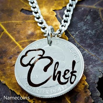 Chef Necklace hand cut coin by NameCoins