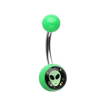 Out of This World Alien Acrylic Logo WildKlass Belly Button Ring